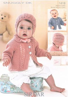 Cardigans & Bonnet in Sirdar Snuggly Dk - Babies - For - Patterns