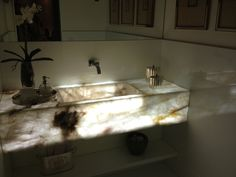 sink with lighting inside