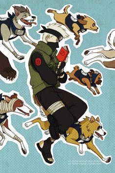 <3 Kakashi & his Ninken (Ninja Hounds)