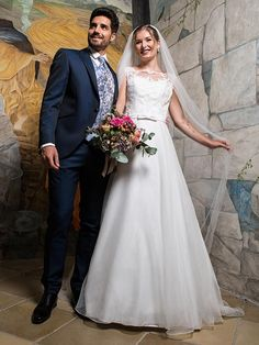 [ H & G collection: Simple and affordable bridal gown with a raised top decorated with lace and delicate-scented organza skirt. Affordable Bridal, Affordable Wedding Dresses, Bridal Gowns, Simple, Lace, Skirts, Collection, Classic, Fashion