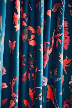 Layne Velvet Curtain by Anthropologie in Blue, Curtains Bold Curtains, Drapes And Blinds, Green Curtains, Printed Curtains, Floral Curtains, Velvet Curtains, Modern Curtains, Bedroom Curtains, Isle Of Man