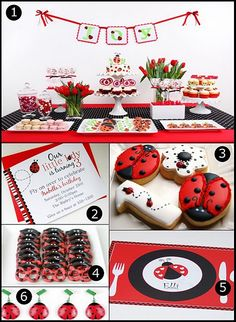 Lady bug theme (how adorable are those pretzels?!!)