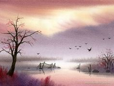 The Dreamland - Water Colour Landscape Paintings - Peaceful Rural Scene - Landscapes Painting Wallpaper 9 Watercolor Paintings Nature, Watercolor Painting Techniques, Watercolor Pictures, Watercolor Landscape Paintings, Watercolor Drawing, Simple Watercolor, Painting Tutorials, Watercolours, Oil Paintings