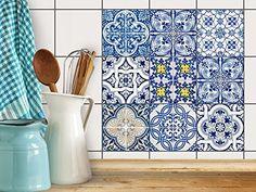 Fliesen-Aufkleber | Deko-Dekorsticker Badfliesen Küchen-Folie Wanddeko | 15x15 cm Design Motiv Klassisch - 9 Stück