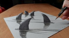 How I Draw 3D Sharks, Trick Art & Optical Illusion