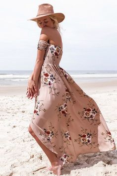 Delilah Waves  Maxi Dress - Dusty Rose| Look like one in a million in this dreamy dress! White maxi dress with floral design bodice. This dress features a front slit on skirt with partial lining at the top of the slit.  Top off shoulder has stretch for a nice fit.      TheChicFind.com