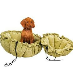 Buttercup Pet Bed - it functions as a circular lounging mat when flat, or can be drawn up to create a cozy cocoon.