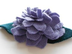 Eco friendly cashmere pin or hair clip. lavender sweater wool re purposed accessory