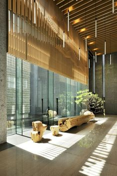 High ceiling, inner city zen Pavillion Design By Arcadian Architecture+Design Photography By Jeffrey Cheng Architecture Durable, Architecture Design, Landscape Architecture, Installation Architecture, Building Architecture, Hotel Lobby Design, Modern Hotel Lobby, Design Commercial, Commercial Interiors