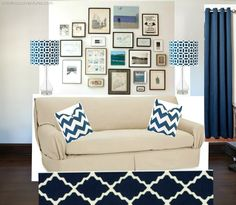 House Tour: Family Room {and inspiration board} Inspiration Boards, Room Inspiration, Home Design Decor, House Design, Home Decor, Estilo Hollywood Regency, Grey Couches, Plaster Walls, Hanging Photos