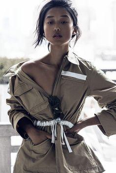 Margaret Zhang wearing #AcneStudios Avon cargo jacket (http://www.acnestudios.com/avon-memory-beige.html)