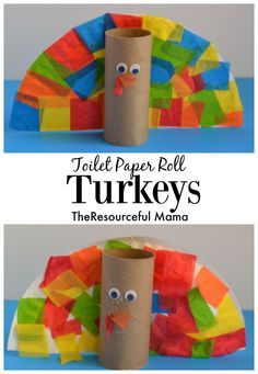 Thanksgiving turkey kid craft using a few of our favorite crafting supplies: toilet paper rolls, paper plates, and tissue paper. My preschooler loved making her turkey!