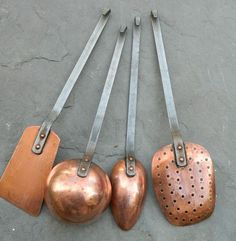 Antique French Copper Utensil Set I Do have a hand forged copper ladle.had it for YEARS. Copper Work, Copper And Brass, Antique Copper, Copper Utensils, Copper Accents, Copper Kitchen Accents, Bronze Kitchen, Copper Decor, Utensil Set