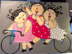 Plus Size Art, Fat Art, Bicycle Art, Paper Artwork, People Art, Whimsical Art, Fabric Painting, Art Lessons, Painted Rocks