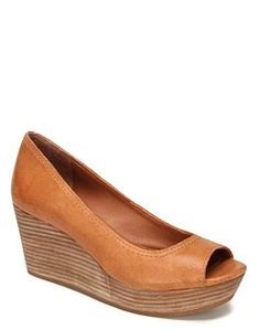 Brown Issy Peep-Toe Wedges - New Arrivals
