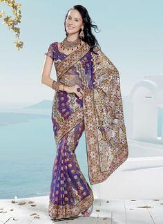 Violet Bandhini Printed Net Saree : Cbazaar
