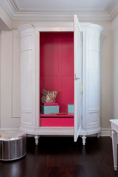 furniture redo - armoire, stand-alone wardrobe  - repaint outside white or black or off-white - paint inside with a bright, vibrant color