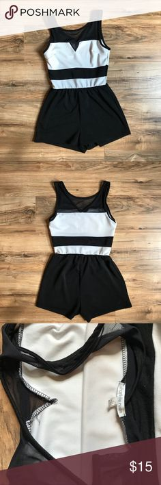 Black and white romper V neck mesh romper Charlotte Russe Other