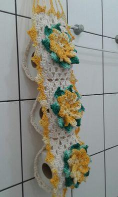 Porta papel higienico com flor caracol amarelas, lindo!