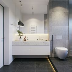 reforma baño pequeño decorado en gris y blanco, grandes baldosas y armario en blanco Modern White Bathroom, Gray And White Bathroom, White Bathroom Decor, Grey Bathrooms, Modern Bathroom Design, Wooden Bathroom, Small Bathroom, Grey And White, Small Vanity