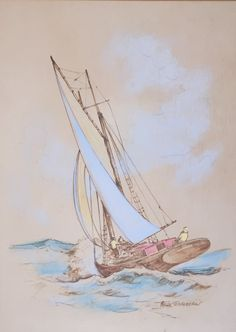 Original Vintage Pastel Drawing of Sailboat in Rough Waters by | Etsy Pastel Drawing, Online Painting, Coastal Decor, Sailboat, Photo Cards, Nautical, Art Photography, Original Art, The Originals