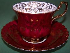 Royal Albert Spectacular Red Gold Tea Cup and Saucer. Tea Cup Set, My Cup Of Tea, Tea Cup Saucer, Royal Albert, China Tea Sets, Teapots And Cups, Chocolate Pots, High Tea, Afternoon Tea