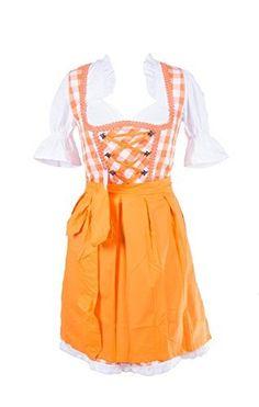 Rose Trachten Dirndl 3 tlg.Trachtenkleid Kleid, Bluse, Schürze, Orange & Weiss, Gr. 32-46, http://www.amazon.de/dp/B00NCZBIAQ/ref=cm_sw_r_pi_awdl_94Abwb0EHHMSS