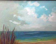 "oil painting landscape original oil, 100% charity donation, ""Beach Grass"" original painting  9x7 canvas panel, clouds, beach"