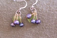 Blueberry pearl and sterling silver earrings | MarquisCreations - Jewelry on ArtFire