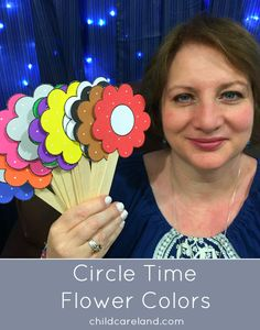 Color recognition using flower props. Print on cardstock paper . cut out and laminate. I glued the flowers to craft sticks so it would be easier to hold them up during circle time but you can also use them on a magnetic or felt board. Preschool Colors, Teaching Colors, Preschool Songs, Circle Time Activities Preschool, Preschool Flower Theme, Spring Preschool Theme, Class Activities, Circle Time Board, Circle Time Games