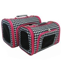 Sturdy Canvas Pink Trim Houndstooth Print Pet Carrier 2 Piece Set w/ Carry Straps for Dog or Cat from $68.99 @Katherine Nash