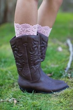 Pure Lace Boot Cuffs in Wedding Light Colors – Lacie Girl Rustic Wedding Gowns, Wedding Ideas, Wedding Stuff, Boho Boots, Cowgirl Boots, Lace Boot Cuffs, Country Attire, February Wedding, Boots And Leggings