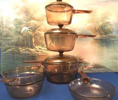 Quality Corning Pyrex  Visions 8 Piece Cookware Set, Amber Color Made In The USA,  Skillet and Saucepans, FREE SHIPPING. $149.00, via Etsy.
