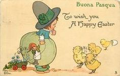 TO WISH YOU A HAPPY EASTER  girl watches newly hatched chicks, she holds doll in right hand, and pulls cart