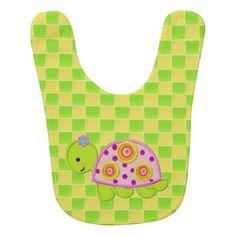 Cute Turtle Checkers Baby Bib