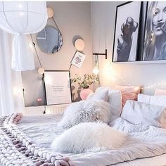 Pin by ab ☆ on teen room inspo schlafzimmer, schlafzimmer id Cute Teen Rooms, Modern Teen Room, Cute Room Ideas, Teen Room Decor, Pastel Room Decor, Pastel Bedroom, Cute Room Decor, Cozy Room, Cozy Bed