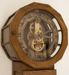 Wooden Clock Style and Design Wooden Clock Plans, Wooden Gear Clock, Wooden Gears, Woodworking For Dummies, Woodworking Furniture Plans, Woodworking Classes, Woodworking Books, Woodworking Patterns, Old Clocks