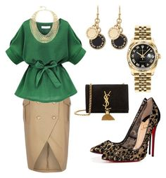 """Ivory"" by melady0202 on Polyvore featuring Christian Louboutin, Yves Saint Laurent, Rolex, BCBGMAXAZRIA и Marc by Marc Jacobs"