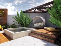 Cantinho zen com deck de madeira Hot Tub Backyard, Small Backyard Pools, Small Pools, Backyard Patio, Backyard Landscaping, Pool Decks, Small Backyard Design, Backyard Pool Designs, Townhouse Garden