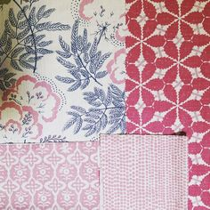Rapture and Wright, Pink and indigo. Look great together. Good for #upholstery #chairs #curtains #interiors #indigo #pink #textiles