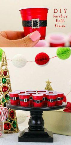"Clever party idea ""mini santa cups"" More Fun Christmas Party Ideas, Adult Christmas Party, Noel Christmas, Holiday Parties, Holiday Fun, Christmas Crafts, Christmas Decorations, Diy Xmas Party, Party Ideas Kids"