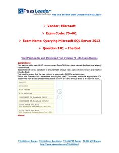 70-461 Exam Dumps with PDF and VCE Download (101-end)