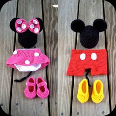 Instant Download PDF Both Crochet Mouse Outfit Photo Prop