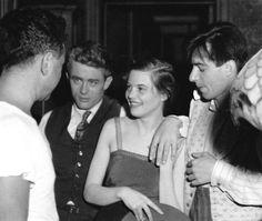 """Elia Kazan, James Dean, Lois Smith, and Leonard Rosenman on the set of """"East of Eden""""."""
