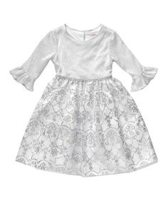 Look what I found on #zulily! Silver Floral A-Line Dress - Girls #zulilyfinds