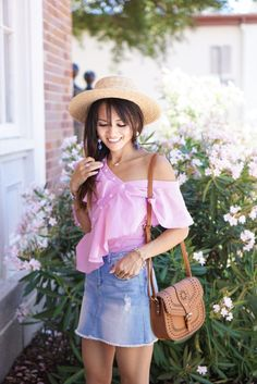 off the shoulder top, bauble ball earring, asymmetrical top, whip stitch cross body bag, boat hat, denim skirt, summer look, how to style a denim skirt