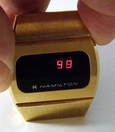Vintage Hamilton LED Goldtone Watch with Original Band.