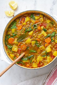 Vegan Curry Lentil Soup with Potatoes & Greens - A Hearty, 1 Pot Recipe - Vegan Curry Lentil Soup with Potatoes & Greens – A Hearty, 1 Pot Recipe - Green Lentil Soup, Lentil Potato Soup, Curried Lentil Soup, Vegan Lentil Soup, Lentil Soup Recipes, Vegan Curry, Lentil Curry, Chicken Soup Recipes, Curry Recipes