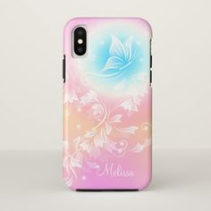 Girly Cute Pink Floral Monogram iPhone X Case - monogram gifts unique design style monogrammed diy cyo customize