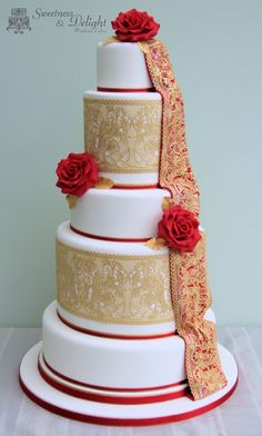 Red & gold Asian Wedding Cake with peacock lace design and handmade sugar roses. African Wedding Cakes, Indian Weddings, Gorgeous Cakes, Pretty Cakes, Indian Cake, Red Cake, Classic Cake, Wedding Cakes With Cupcakes, Elegant Cakes